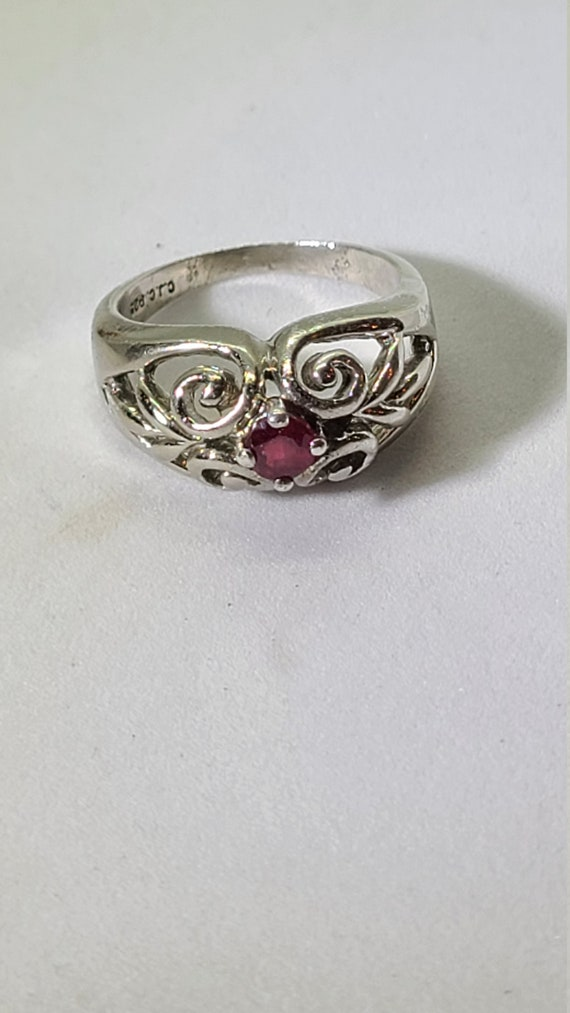 Sterling Silver Vintage Ruby Ring - image 2