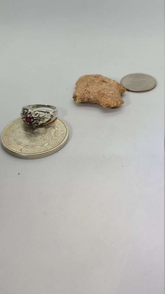 Sterling Silver Vintage Ruby Ring - image 1