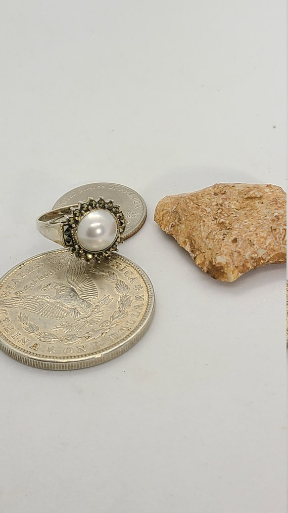 Vintage Sterling Silver Synthetic Pearl and Marca… - image 1