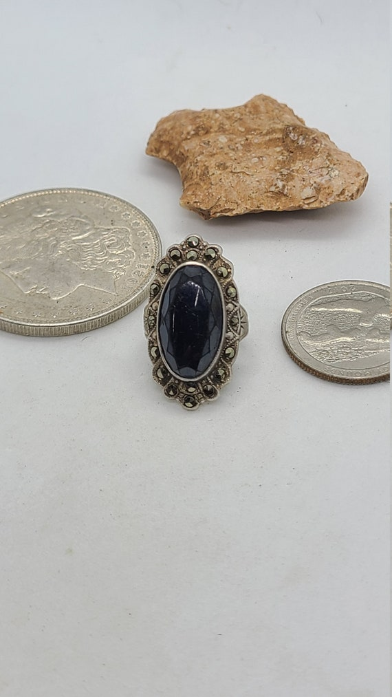 Vintage Sterling Silver Onyx and Marcasite Ring