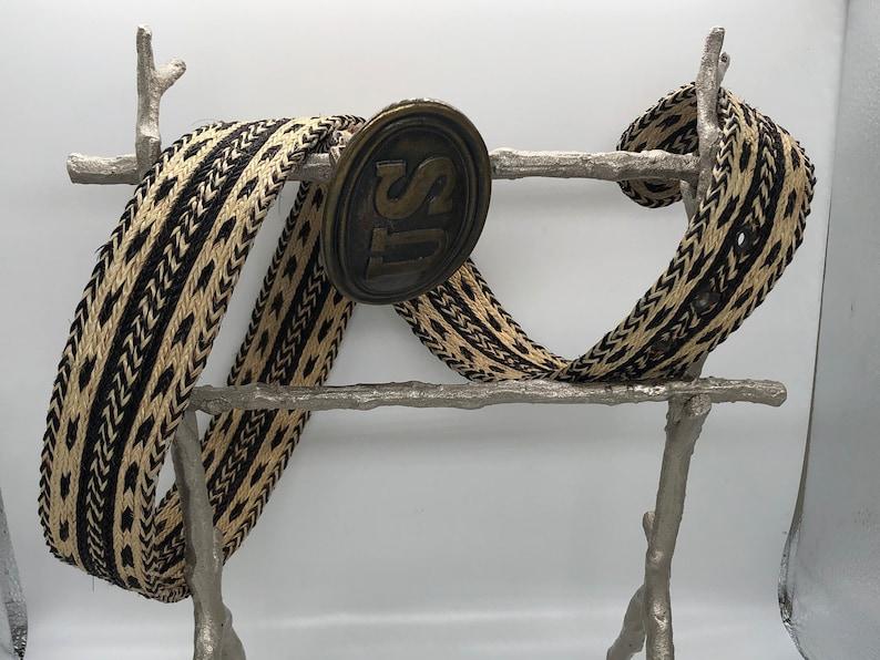 28\u201d Nylon and Hemp 5-Strand Weave /& Braid Belt w U.S Brass Buckle 3.5 x 2.5.