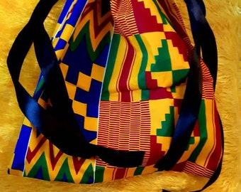 Afrikanische Kordelzugtaschedrawstring bag,African baggiftssummerbackpackwhiteblackgraycrafts and arts