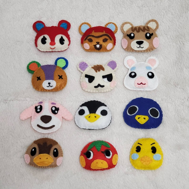 Hand sewn MADE TO ORDER Animal Crossing Felt Plush Nerdy Gift Hand made Keychain Cute