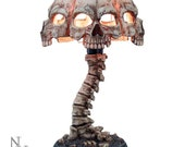 Atrocity Natural Bone Skull and Spine Lamp Beautiful Gothic Skull Lamp Skeleton Gifts