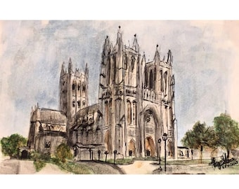 Washington National Cathedral Watercolor (perfect gift and detailed art of Washington DC's historic  Architecture  (Print)