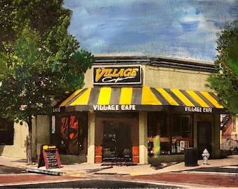 The village cafe- one of Richmond Virginia's famous restaurants (vcu, rva, hand painted, handmade) print