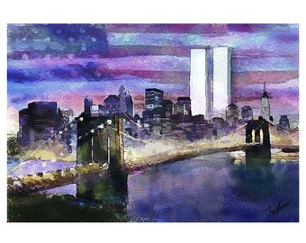 Remembering 9/11 - New York City Skyline (Print of patriotic painting commemorating September 11th and the twin World Trade Center towers)
