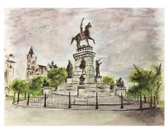 Gloomy Day at Monument Avenue Richmond, VA, 2016 (RVA  art of historic monuments and architecture , VCU) Hand Painted Art watercolors Print