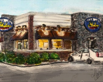 Cincinnati Ohio's famous Skyline Chili ! Staple tourist spot of the states well known restaurant! Print of handprinted Watercolor painting