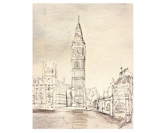 Big Ben watercolor (muted)