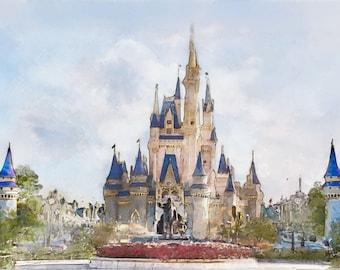 Cinderella's Castle at Walt Disney World, Orlando Florida (hand painted, unique gift with Mickey, encouragement, etc) magic kingdom (print )