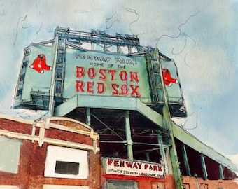 Fenway Park- Boston Redsox Fan Art (baseball fans, beantown, watercolor handmade painting with microns and marker) *print*