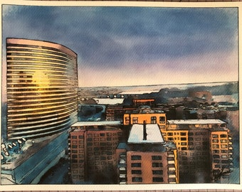 Arlington Virginia View (architecture waterfront, bridge, against the sunset). Handmade watercolor and marker over sketch