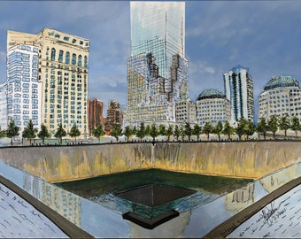 Never Forget national 9/11 memorial (patriotic marker rendering, handdrawn September 11th tribute , architecture and ground zero) *original*
