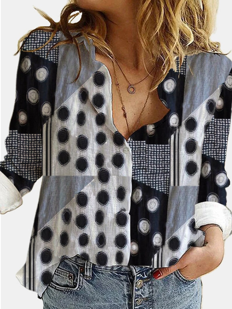 Vintage Printed Long Sleeve Turn-down Collar Patchwork Blouse For Women women blouse women clothes