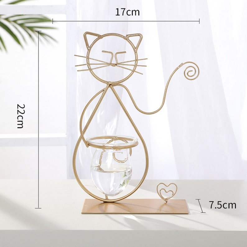 Direct ins wind gold wrought iron cute cat animal shape hydroponic glass vase living room creative flower arrangement ornament