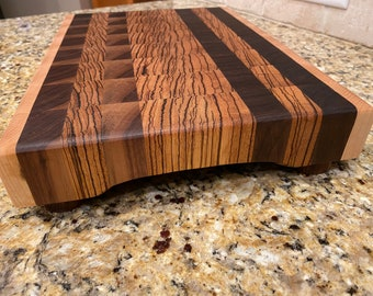 End Grain Tiger-wood/Walnut/Maple Cutting Board