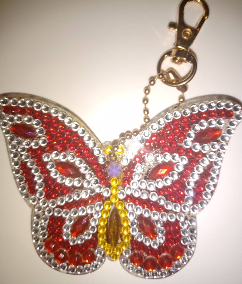 Letterbox friendly Completed Butterfly diamond painting key chains in various designs