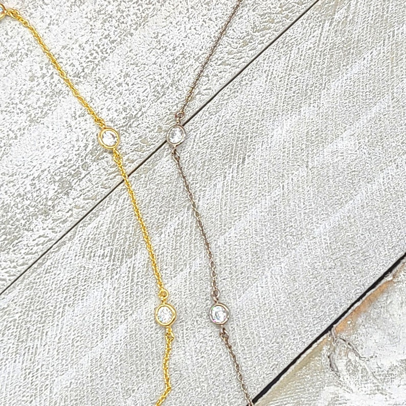 Choker Necklace Silver Necklace Gold Necklace Cubic Zirconia Station Layering Necklace Dainty Necklace
