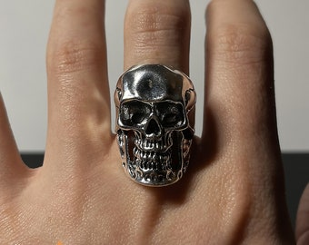 925 Sterling Silver Ring Mens Bronze Ring Skull Head Ancient Ring Biker ring Skeleton Ring Skull Indian Ring Mens jewelry