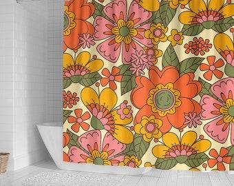 Vintage Flower Shower Curtain, Shower Curtain Decor, Shower Curtains Waterproof Fabric, Bathroom Decorations Birthday Gift