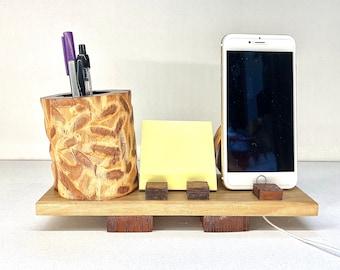 Australian Hardwood Mobile Phone Stand Horse Docking Station