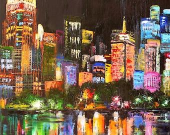 "City Lights Painting Original Art Night Cityscape Wall Art Canvas Impasto Big City Oil Artwork 16"" by 24"" by ElviraShopArt"