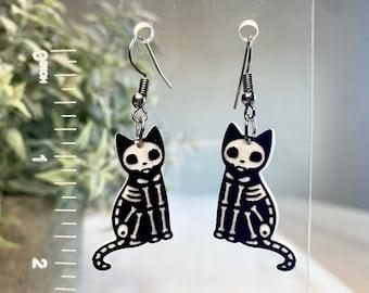 Skeleton Cat Earring   Halloween Cat Dangly Earring