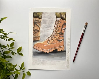 Combat Boots   ORIGINAL ART, Gouache   military, veteran, service member, armed forces, active duty, army, Air Force, navy, marine