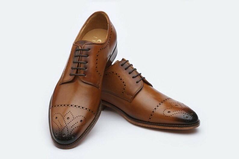 Mens Bespoke Handmade Genuine Brown Leather Oxford Brogue Toe Cap Derby Shoes