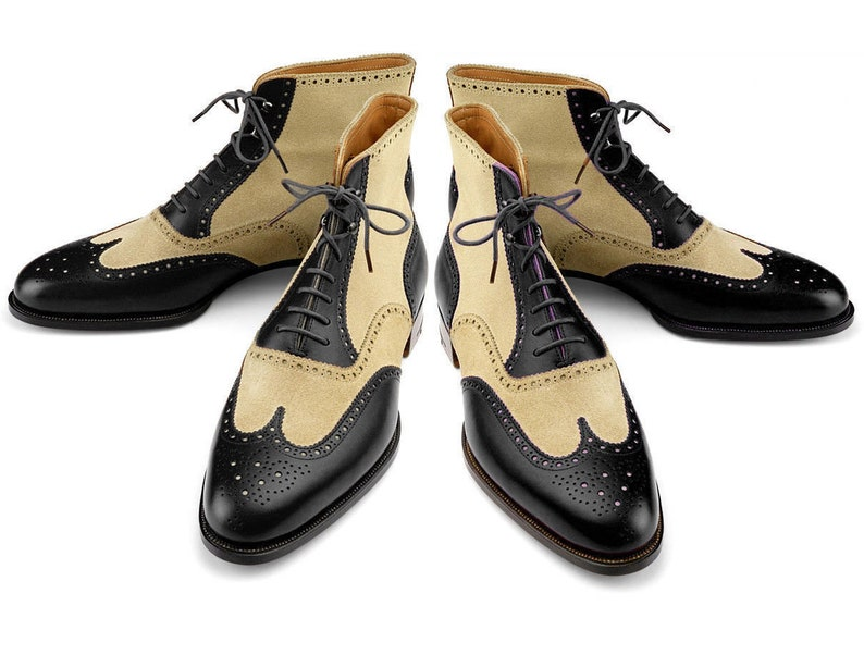 Edwardian Men's Shoes & Boots | 1900, 1910s New Handmade Men Wing Tip Ankle High Boots Two Tone Leather Casual brogue Boots $169.99 AT vintagedancer.com