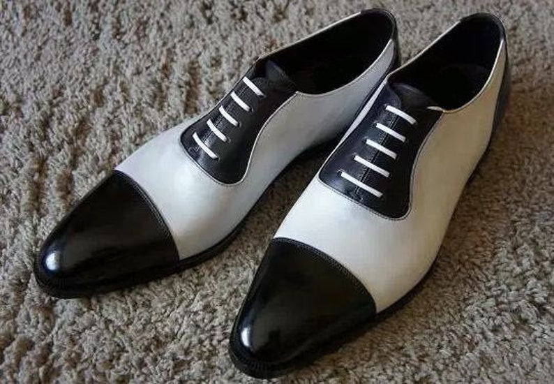 1930s Men's Shoe Styles, Art Deco Era Footwear     Handmade Spectator Mens Black And White Formal Leather Dress Handcrafted Shoes $169.99 AT vintagedancer.com