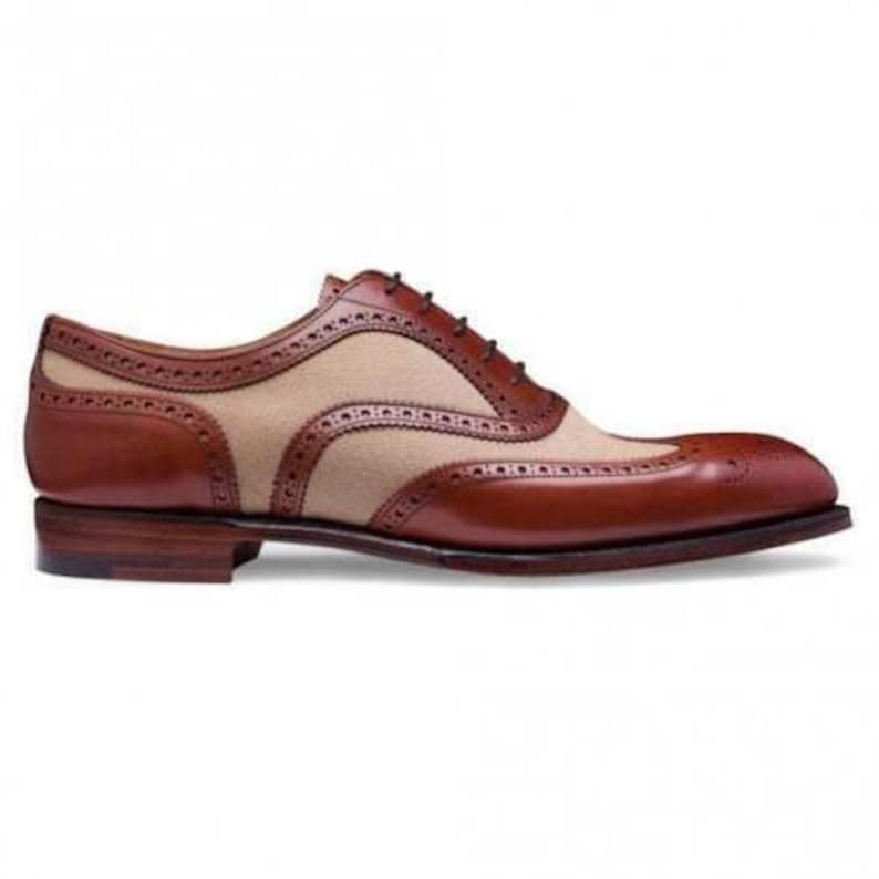 Men's 1950s Shoes Styles- Classics to Saddles to Rockabilly     Mens Handmade Two Tone Tan Leather And Cream Suede Shoes Oxford Brogue Wingtip Boots $169.99 AT vintagedancer.com