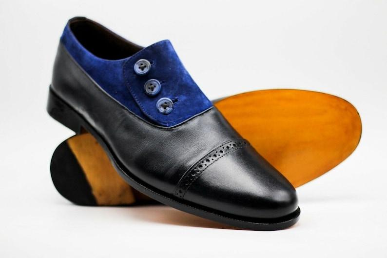 Edwardian Men's Shoes & Boots | 1900, 1910s     Mens Handmade Genuine Black Leather & Blue Suede Oxford Buttons Toe Cap Shoes $169.99 AT vintagedancer.com