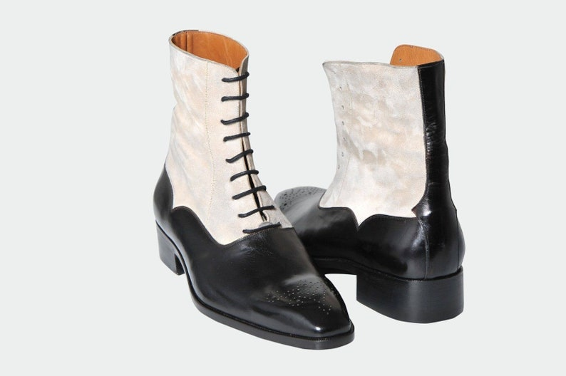 Edwardian Men's Shoes & Boots | 1900, 1910s     Handmade Mens Two Tone Ankle Dress Boots Suede Leather Shoes $189.99 AT vintagedancer.com