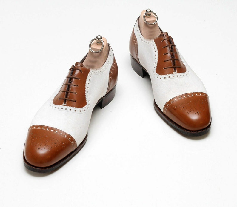 1930s Men's Shoe Styles, Art Deco Era Footwear     Mens Bespoke Handmade Two Tone Tan Leather And White Suede Oxford Brogue Shoes $169.99 AT vintagedancer.com