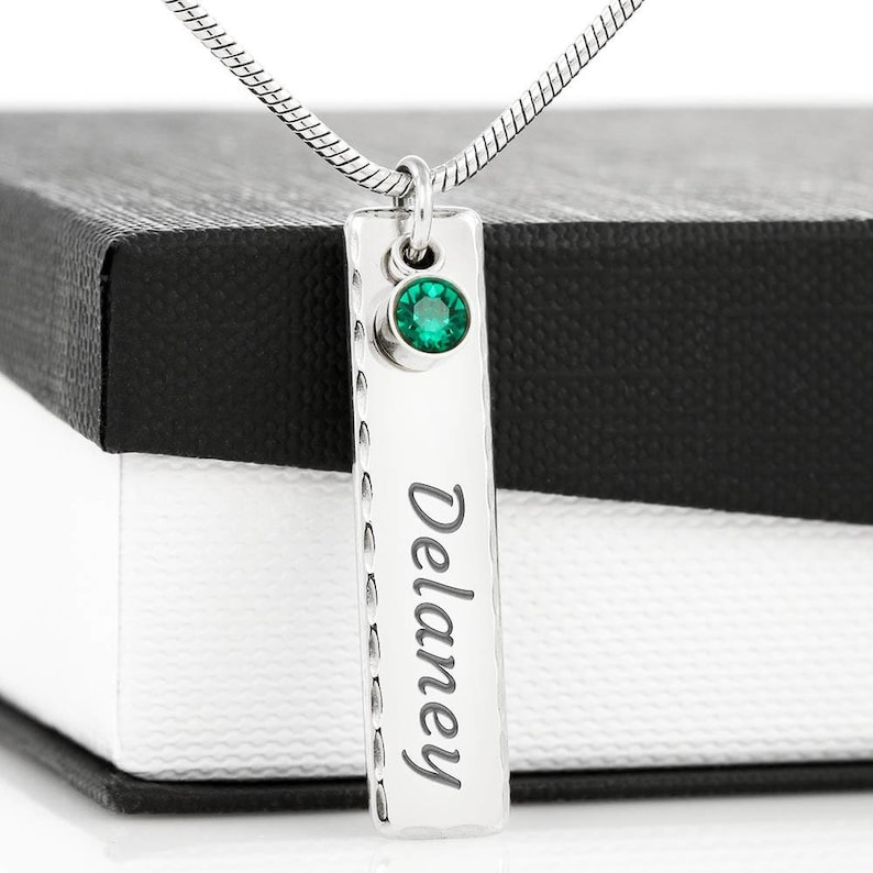 Custom Engraved Name Birthstone Bar Necklace For My Wife Personalized  For Women Valentines Anniversary Engagement Gift From Husband