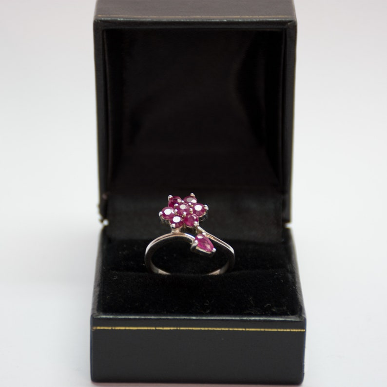 Floral Ruby Ring Silver Flower Rings July Birthstone Ring Dainty Rings Ring Silver Sterling Love Ring Sterling Silver Ruby Ring Women