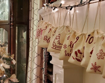 Advent Calendar Gift Bags, Christmas Pouch, Advent Bags, Cotton Muslin Drawstring Bags, Cotton Muslin Pouch, Christmas Gift Bags