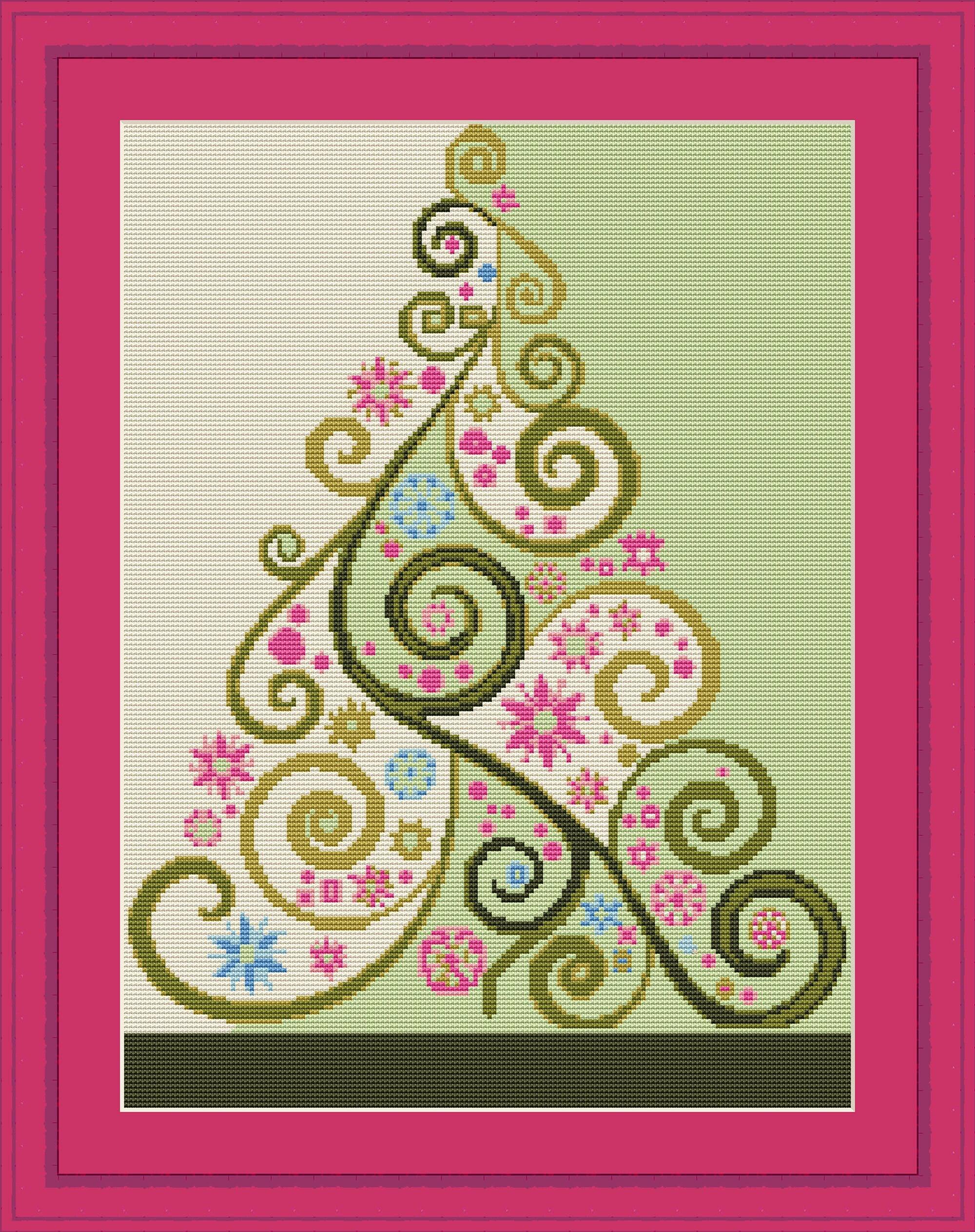 christmas tree cross stitch pattern easy pdf down load  etsy