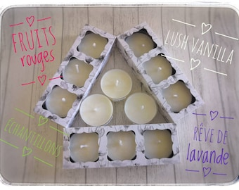 Scented candle samples in flat heater, Vanilla lush, red fruits and lavender dream