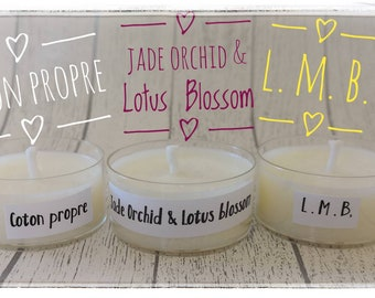 Scented candle samples in flat heater, clean cotton - jade orchid and lotus blossom - L.M.B.