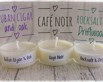 Scented candle samples in flat heater, black coffee - Rocksalt and Driftwood - oak smoke