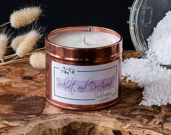 Men's and marine scented candle, rapeseed wax and scented coconut Rocksalt and Driftwood
