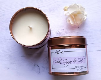 Male and woody scented candle, with rapeseed wax and fragrant coconut Oak smoked