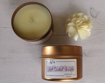 Candle scented with rapeseed wax and coconut, jade orchid and lotus blossom