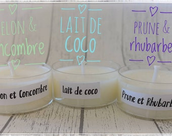 Scented candle samples in flat heat, rhubarb plum - coconut milk - melon and cucumber