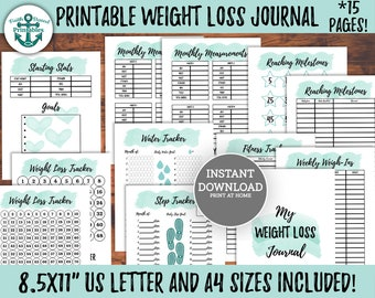 Printable Weight Loss Journal Weight Loss Tracker Printable Weight Loss Motivation Weight Loss Goal Tracker Weight Loss Motivational Quotoes