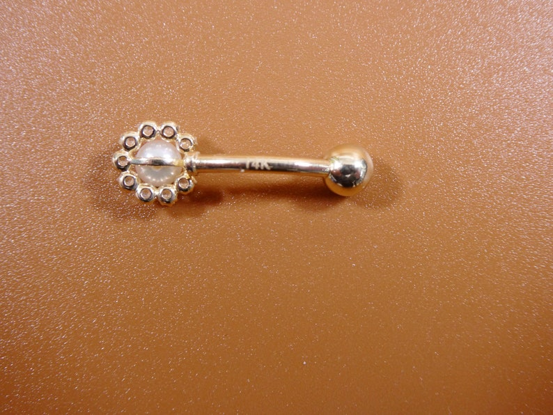 14k real solid yellow gold freshwater pearl belly ring