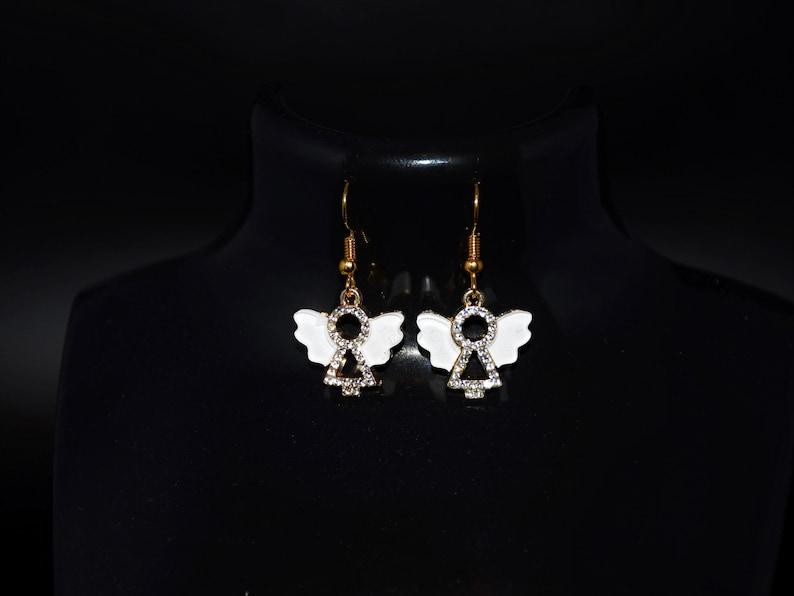 Gold plated white wings enamel rhinestone angel pendant charm necklace earrings or set